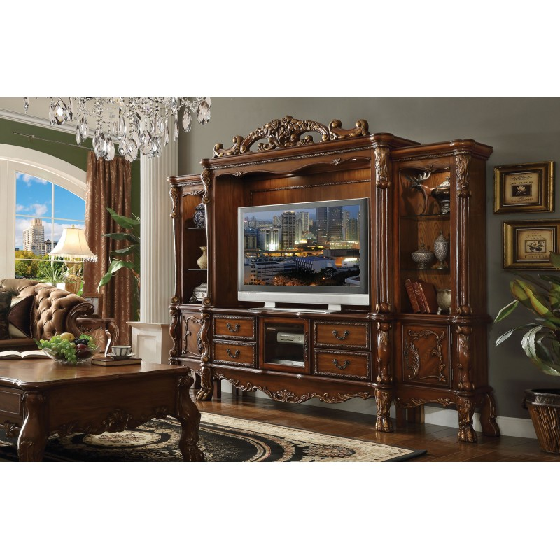 cherry oak finish stand entertainment center acme wall units with glass doors used