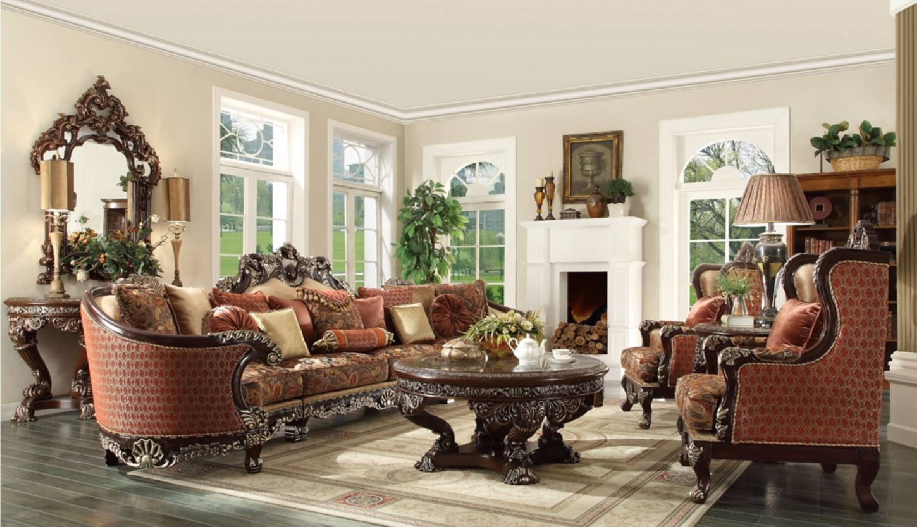Hd 111 homey design upholstery living room set victorian for Hd designs home decor