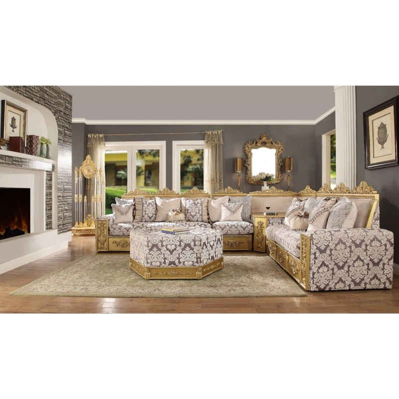 HD 459 Homey Design Upholstery Living Room Set Victorian European Classic Sofa