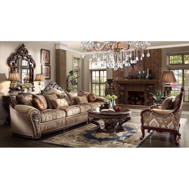 HD 1632 Homey Design Upholstery Living Room Set Victorian European Classic Sectional