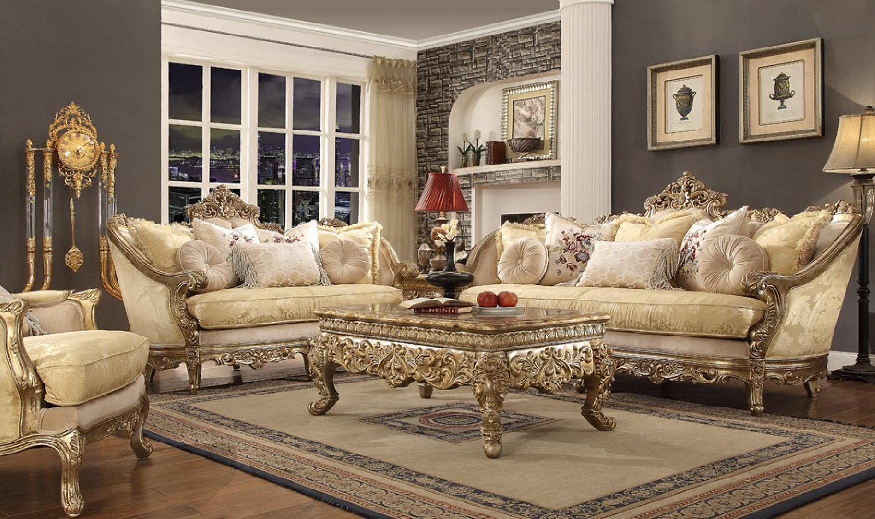 HD 2626 Homey Design Upholstery Living Room Set Victorian
