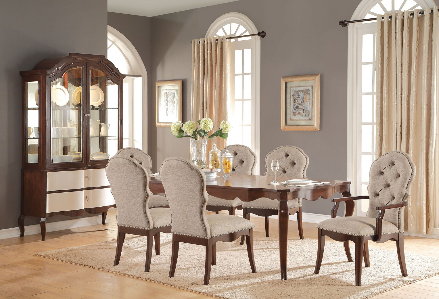 61980 Acme Dining Set Mathias Collection Walnut Finish / Beige Fabric