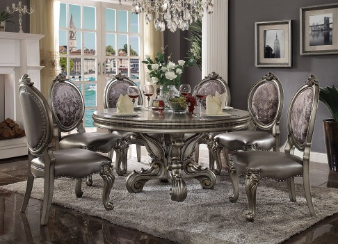 66840 ACME Dining Round Table Versailles Collection in Antique Platinum