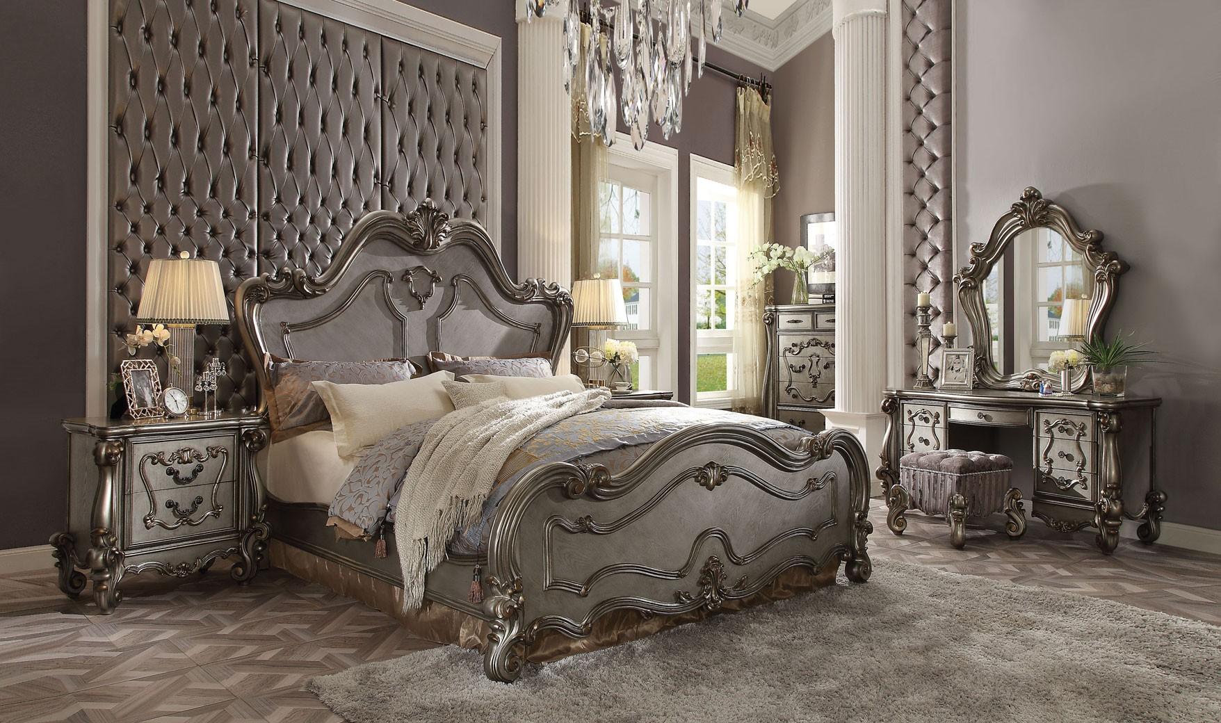 26860 Acme Versailles Bedroom Set Collection Antique Platinum Finish