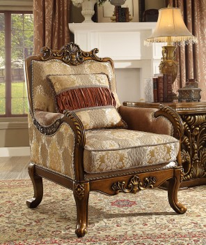 HD 1601 Homey Design Traditional Wood Finish Upholstered Accent Chair French Victorian Style