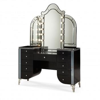 Aico Hollywood Swank Bedroom Upholstered Vanity  BLACK IGUANA