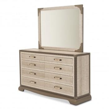 Aico Valise Upholstered 2 pc Dresser w/ Mirror Amazon Tan Gator