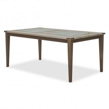 Aico Valise 4 Leg Retangular Dining Table w/Glass Inserts