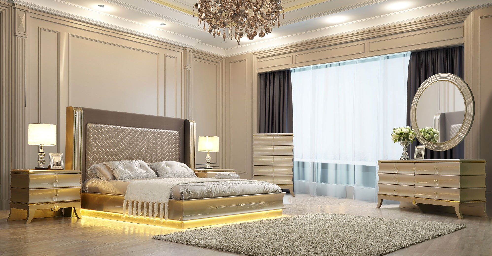 HD 925 Homey Design Bedroom Set Victorian, European U0026 Classic