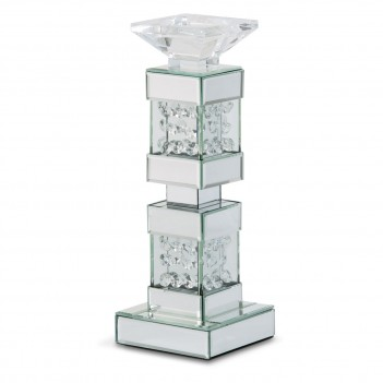 Aico Montreal Mirrored/Crystal Candle Holders Short (2/Pack)