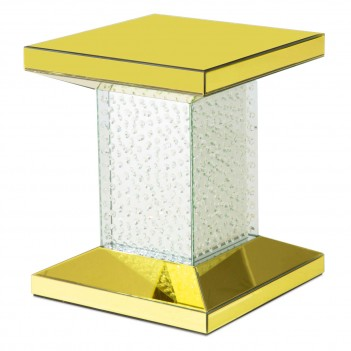 Aico Montreal Chairside Table W/Gold Mirror