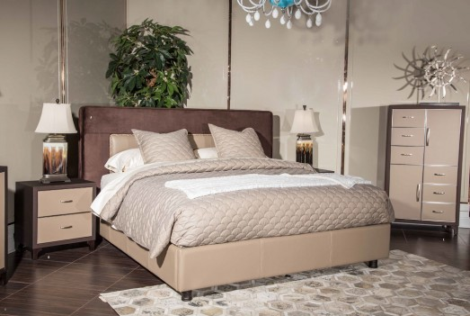 Aico 21 Cosmopolitan Taupe Upholstered Tufted Bedroom Set