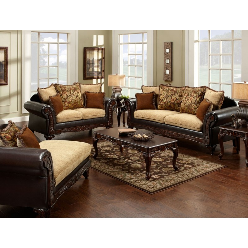 Ssm7430 furniture of america living room tan fabric for Wood living room furniture