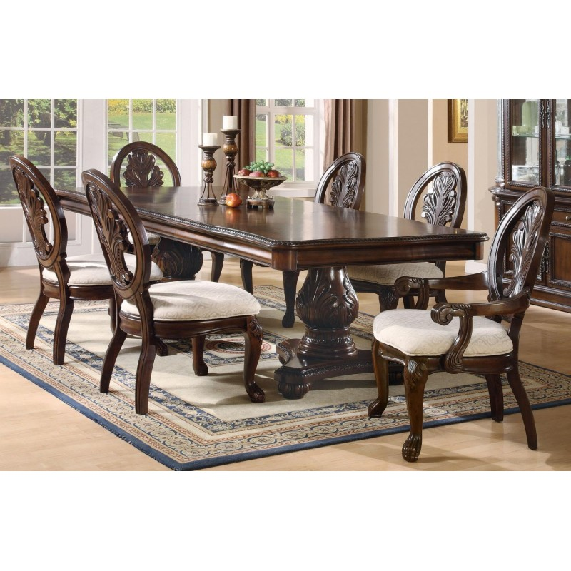 Coaster Formal Dining Set Tabitha Rect. Double Pedestal Table Rich Cherry  Finish ...