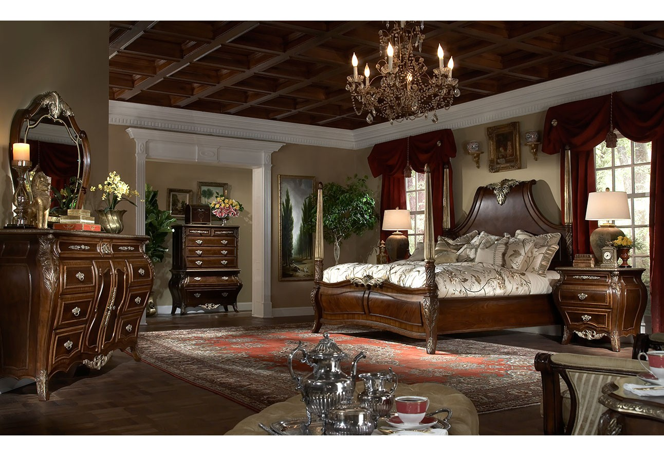 Imperial Court Bedroom Set Collection Radiant Chesnut Finish color