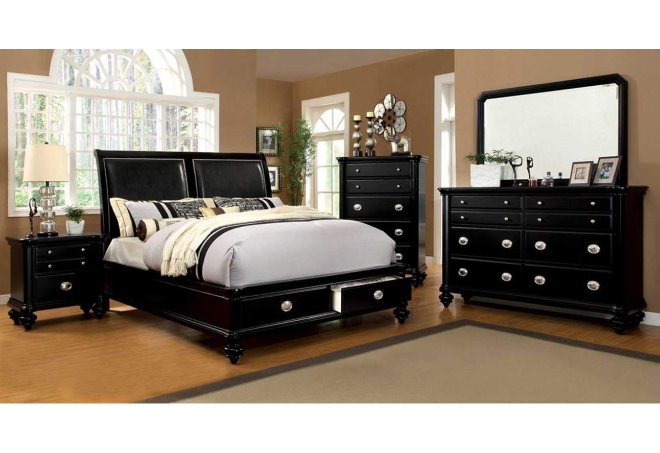 Cm7652 Laguna Hills Import Furniture Of America Bedroom Set Platform Bed Black Finish