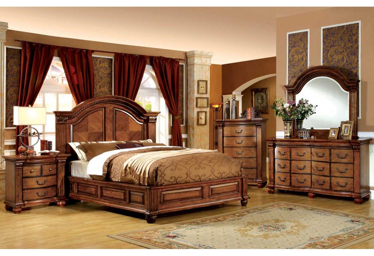 Traditional bedroom furniture - Cm7738 Import Furniture Of America Bellgrand Traditional Bedroom Set Antique Tobacco Oak Finish
