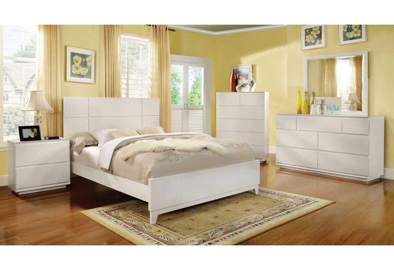 furniture of america felica traditional bedroom set white finish