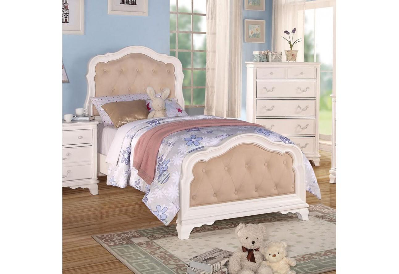 30145t Acme Ira Twin Romance White Finish Bedroom Set