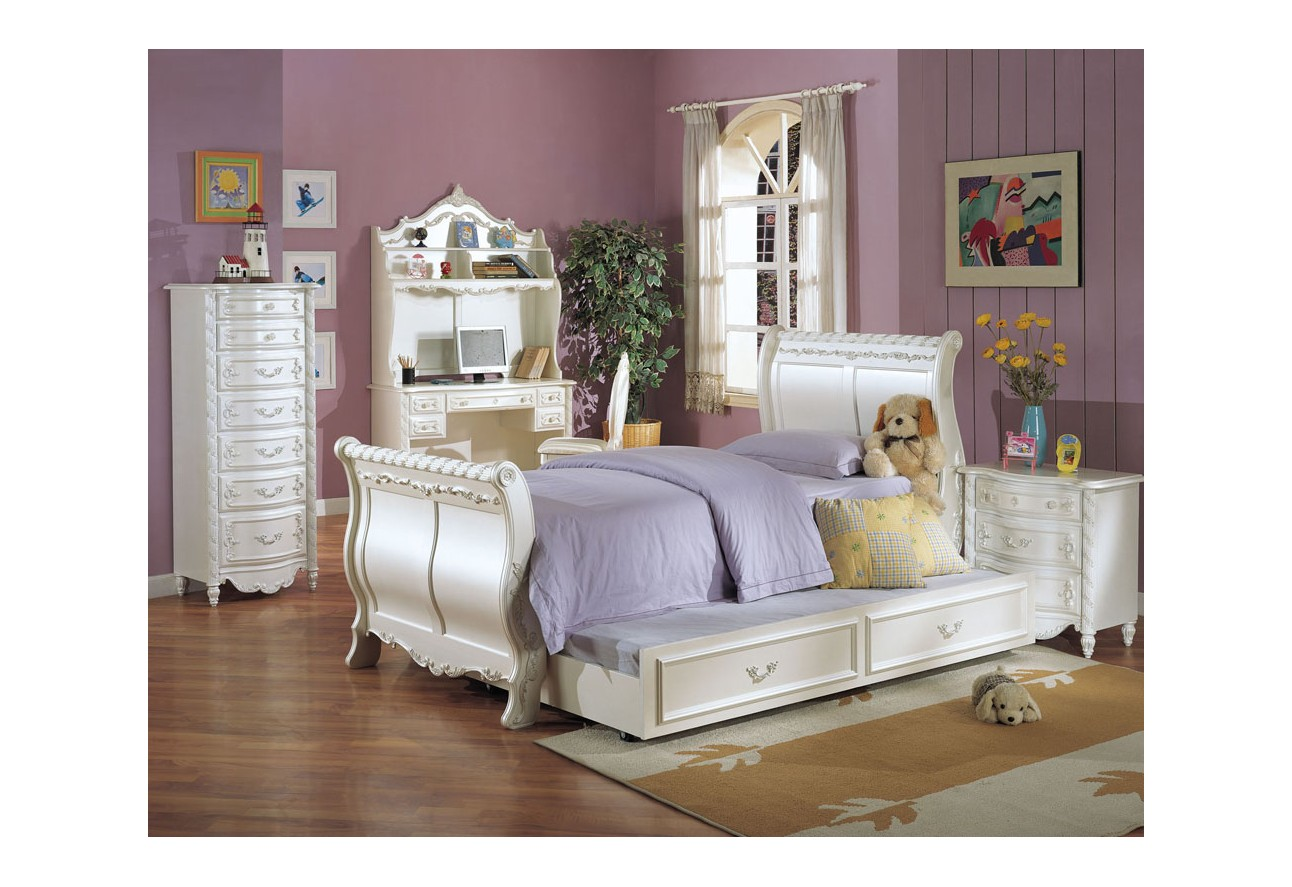Sleigh Bed Bedroom Sets 01010 Acme Furniture Kids Bedroom Set Sleigh Bed Pearl Finish
