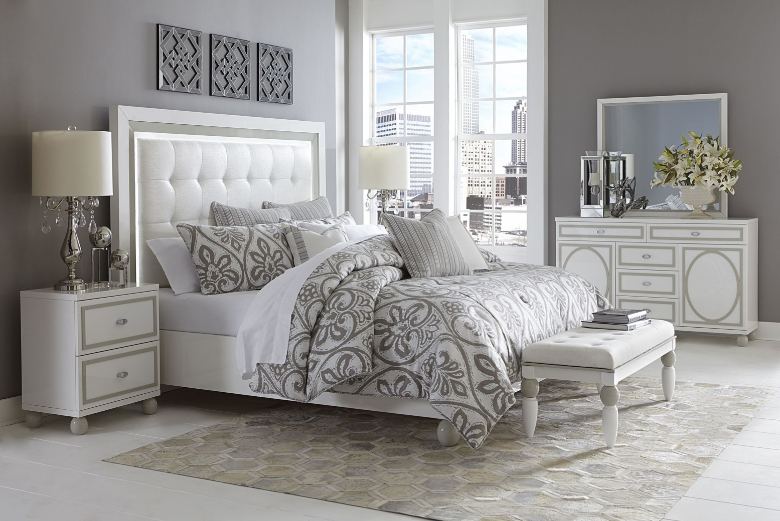 Sky Tower Bedroom Set White Cloud Cal king