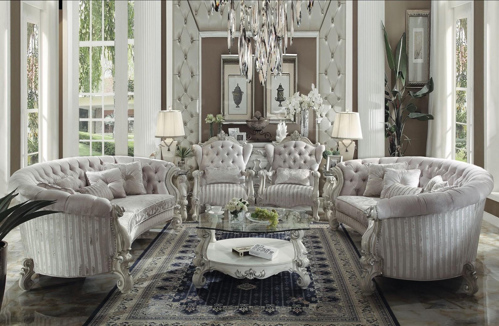 52085 Acme Juego de sala Colección Versailles en madera Color blanco ...
