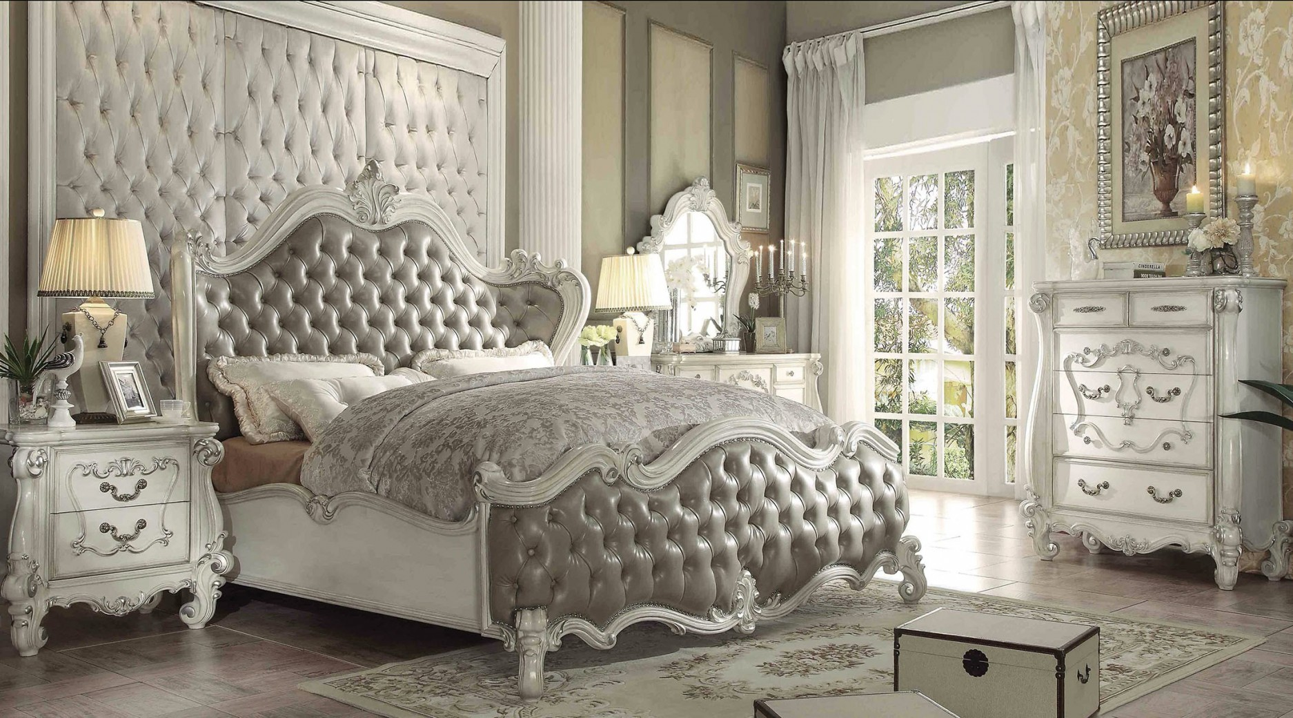 21150 Acme Versailles Bedroom Set  Vintage Gray PU Bone white Finish