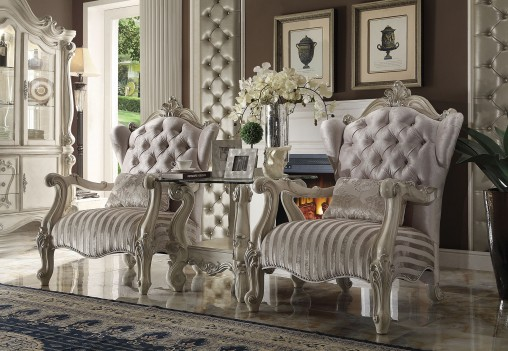 52085 Acme Versailles Living room Collection Ivory Velvet Bone white Collection