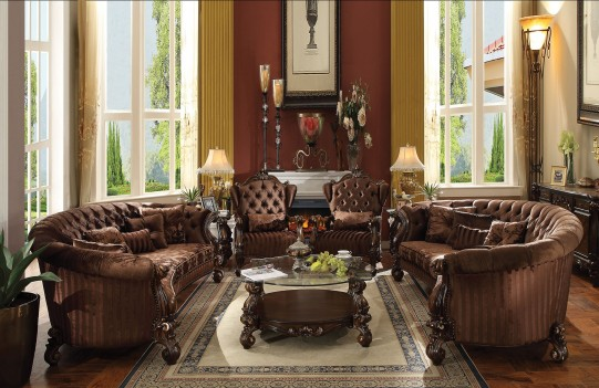 52080 Acme Versailles Living room Collection Brown Velvet Cherry Oak Finish