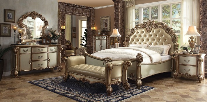 23000 Acme Gold Patina Finish Bedroom Collection Bone Upholstery