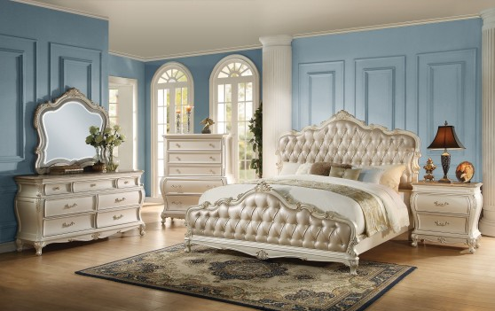 23540 Acme Chantelle Bedroom Collection Pearl White Finish Rose Gold Upholstery