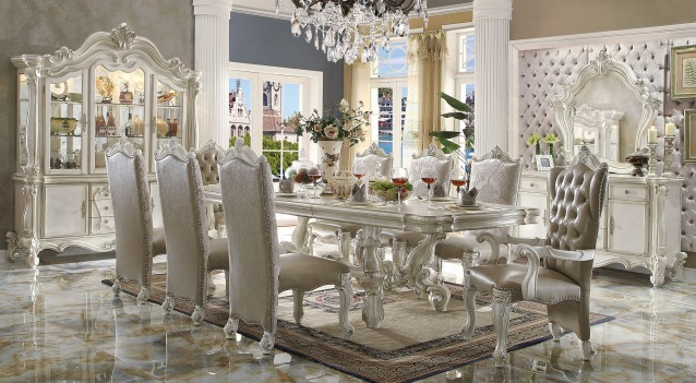 Acme 61132 Rectangular  Dining Set  Versailles White Bone Finish