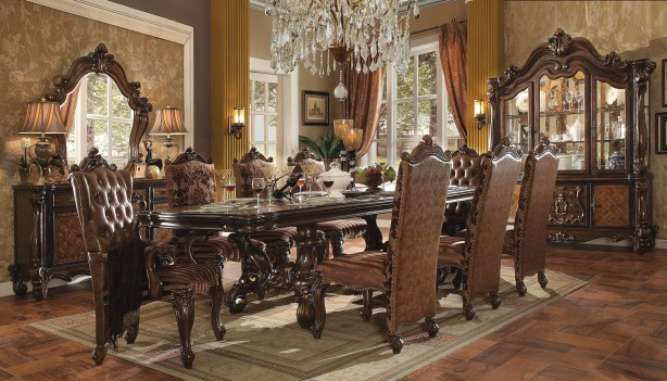Acme  61100 Rectangular  Dining Set  Versailles Cherry Oak Finish