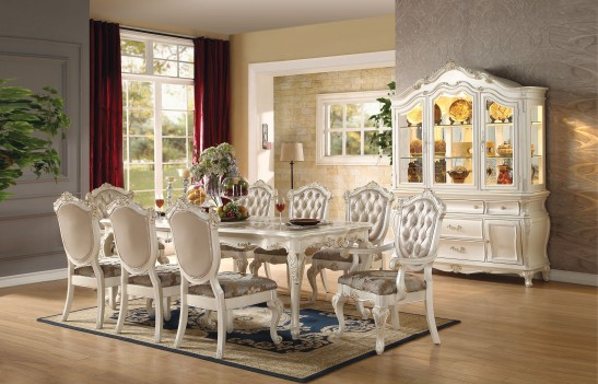 Acme  63540 Rectangular  Dining Set  Chantelle Peal White Finish