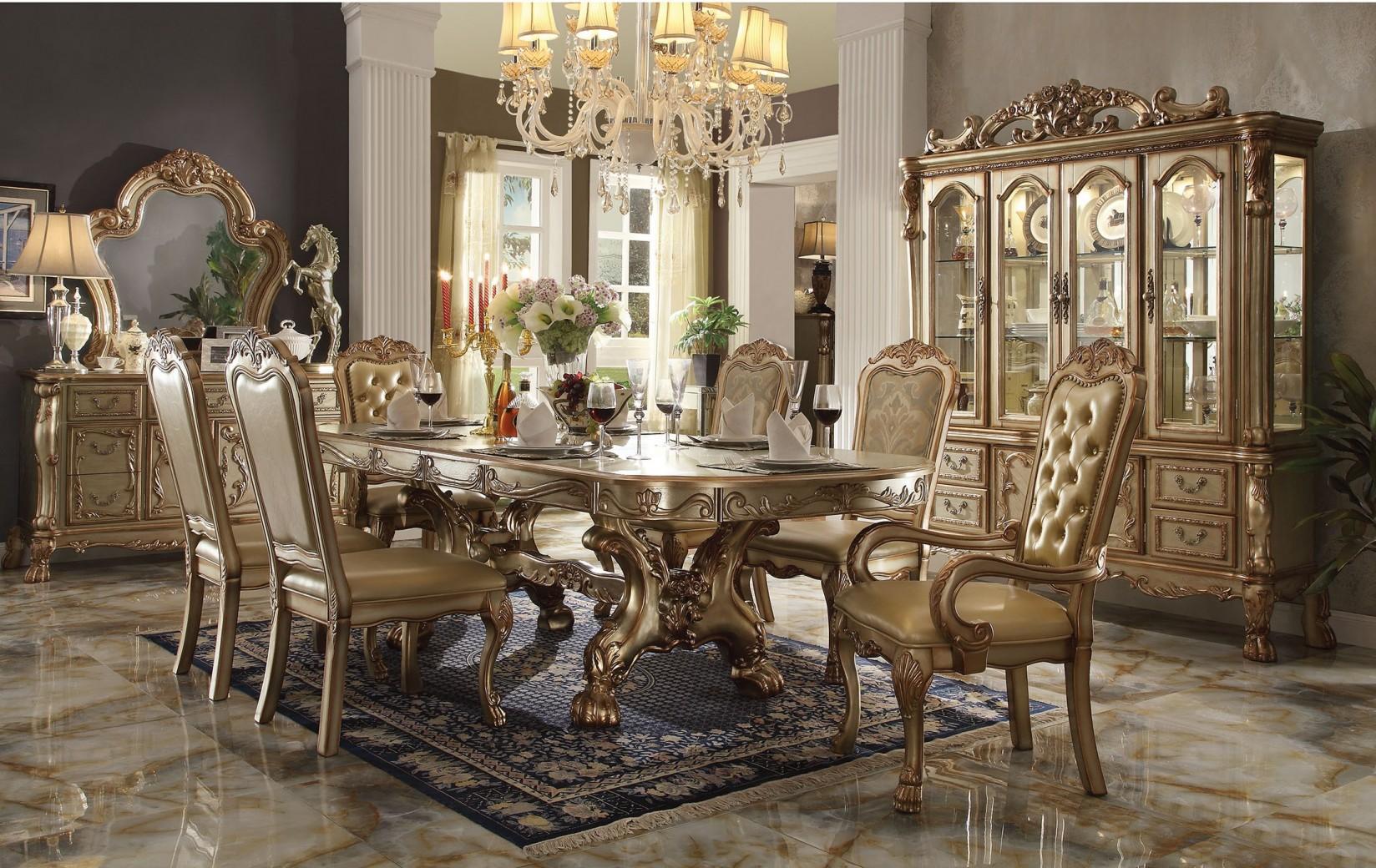 Acme  63150 Rectangular  Dining Set  Dresden Gold Platina Finish