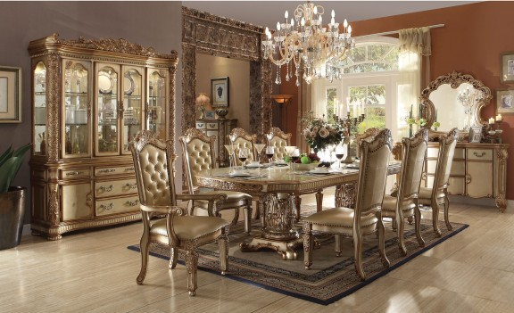 Acme  63000 Rectangular  Dining Set  Vendome Gold Platina Finish