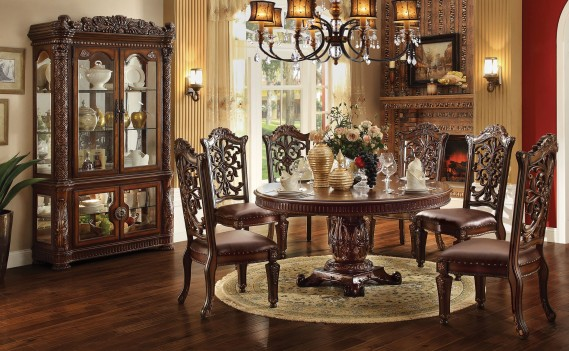 Acme  62020 Round  Dining Set  Vendome  Cherry Finish