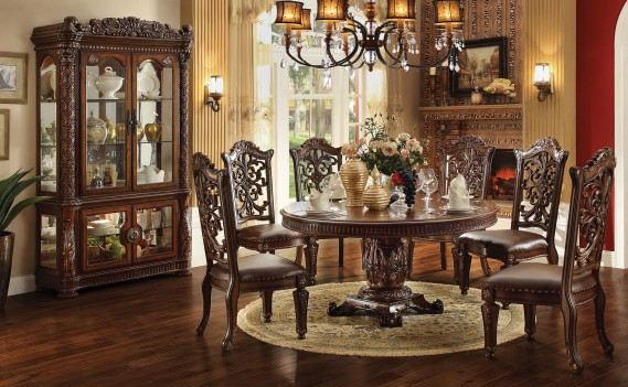 Acme 62015 Round  Dining Set  Vendome  Cherry Finish