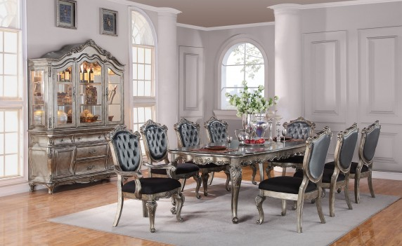 Acme 60540 Rectangular  Dining Set Chantelle Antique Platinum Finish