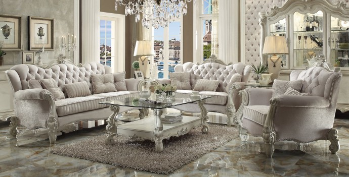 Acme 52105 Versailles Living room Collection  Ivory Verlvet Finish