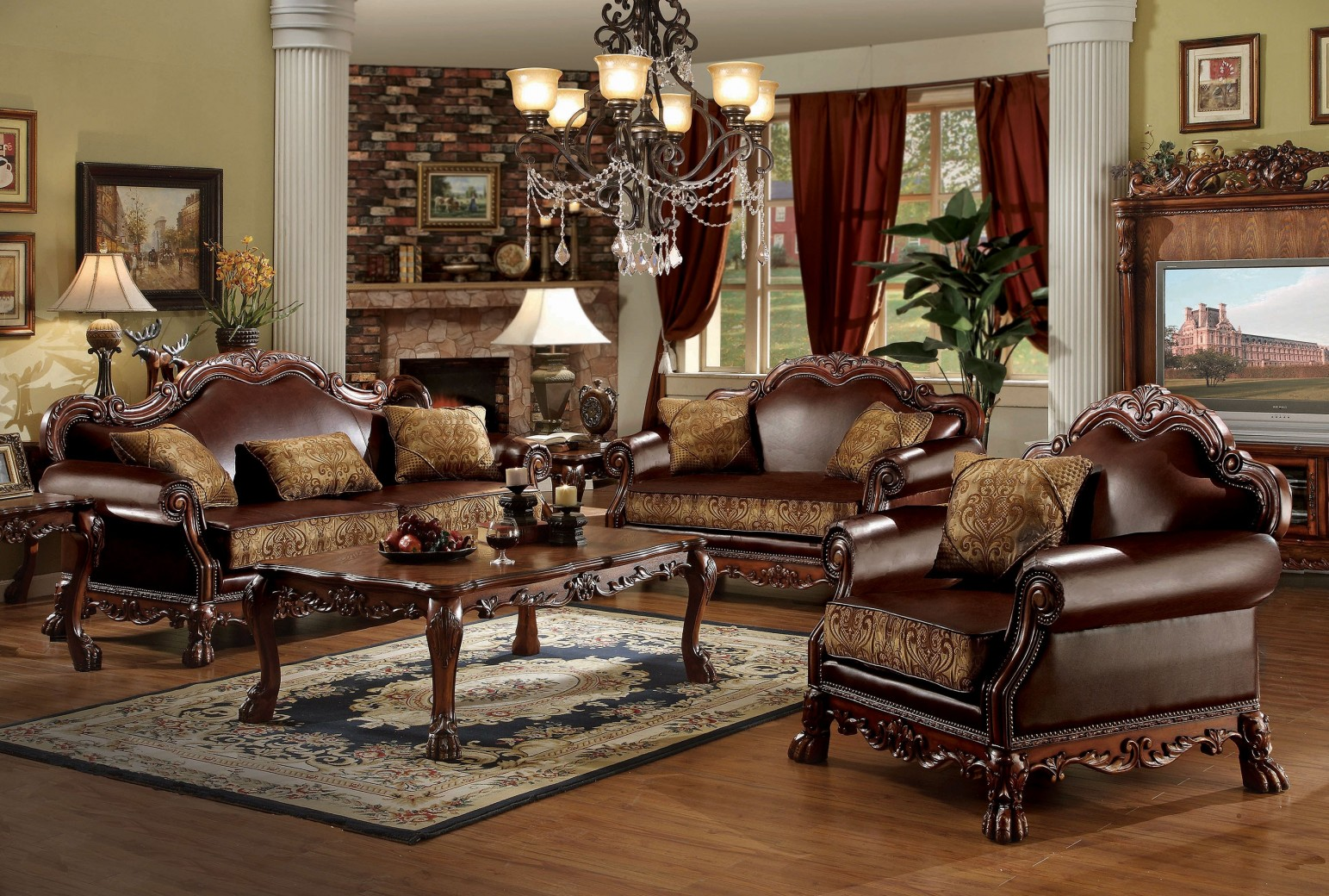 acme living room furniture 15160 acme dresden living room collection cherry oak 13676