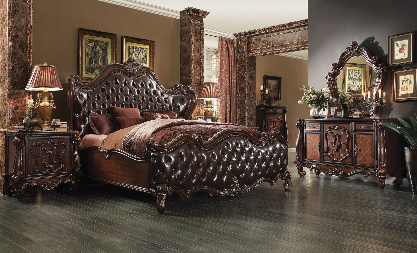 21120 Acme  Versailles Bedroom Set Collection Cherry Oak Finish 2 Tone Dark Brown PU Upholstery