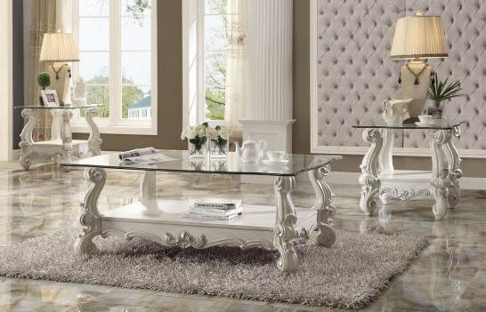 Acme 82103 Coffee Table Versailles Collection Bone White Finish Clear Glass