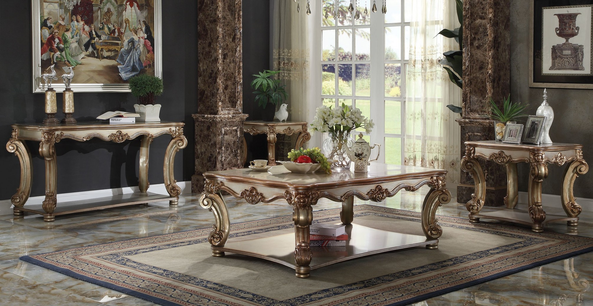Acme 83000 Coffee Table Vendome Collection Gold Patina Finish