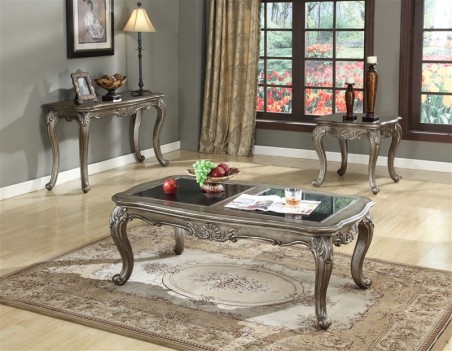 Acme 80540 Coffee Table Chantelle Collection Antique Platinum Finish