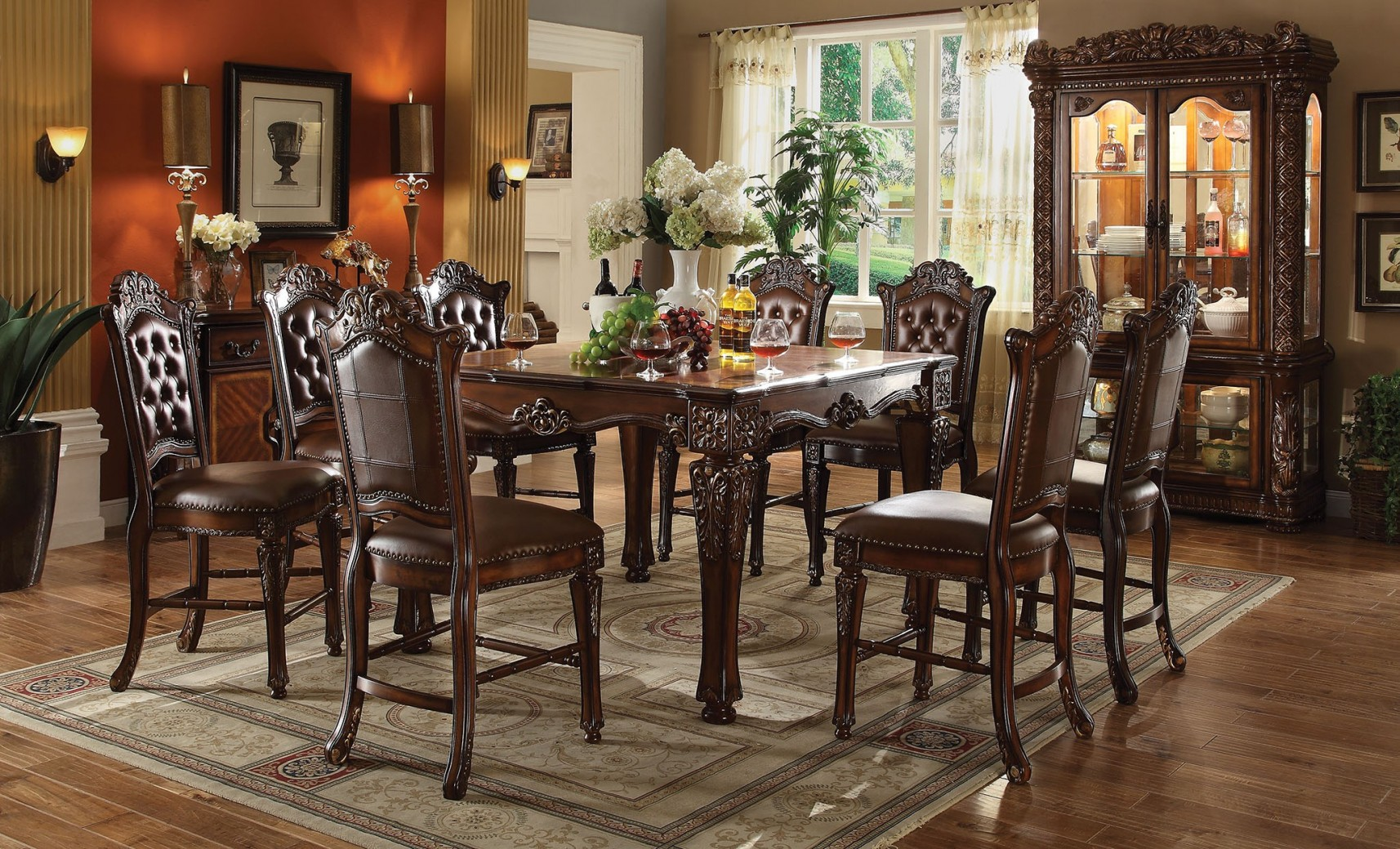 62025 Acme  Vendome Counter Height Dining Set Cherry Finish