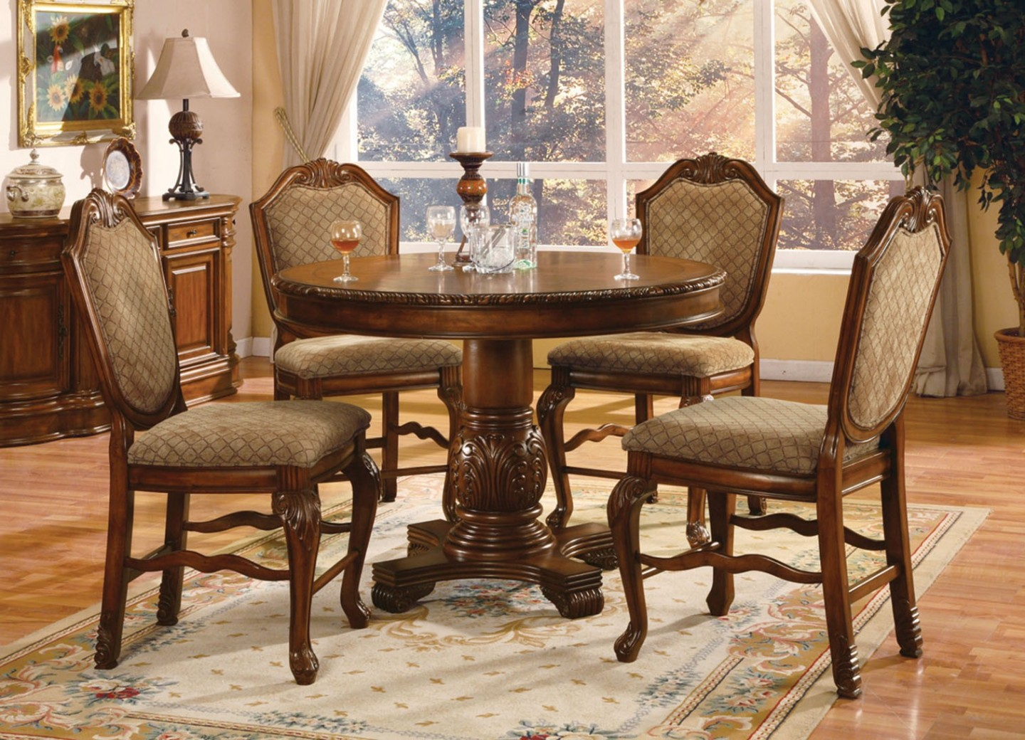04082 Acme Chateau de Ville  Counter Height Dining Set  Cherry Finish