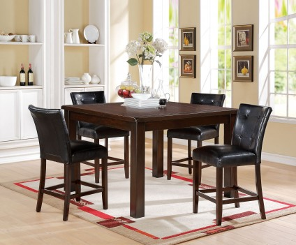71145 Acme Easton Counter Height Dining Set  Brown Cherry Finish