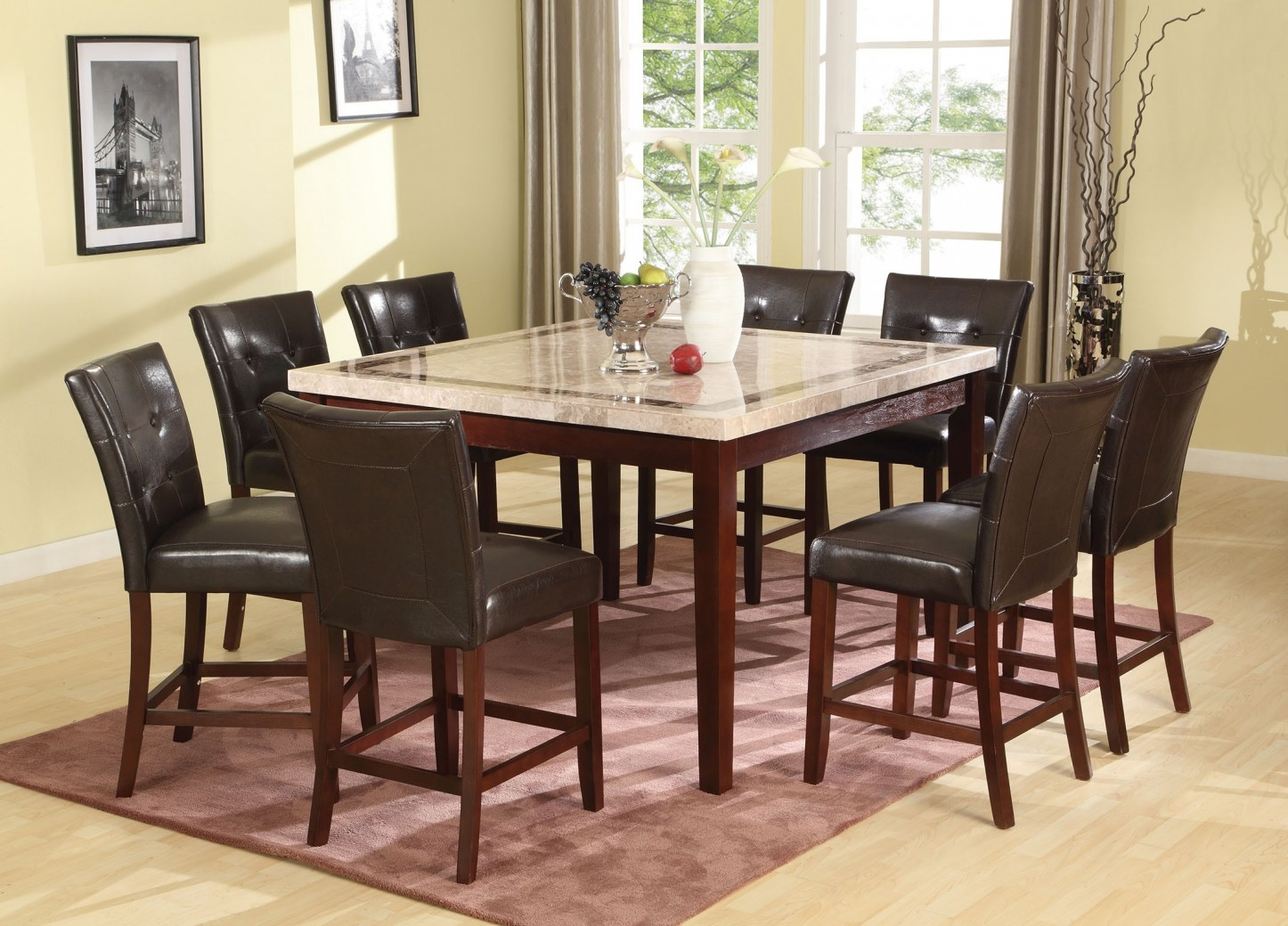 70774 Acme Earline Counter Height Dining Set White Marble Top With Brown  Insert Finish