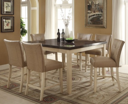 71760 Acme Faymoor Counter Height Dining Set Limestone Marble Top Antique White  Finish